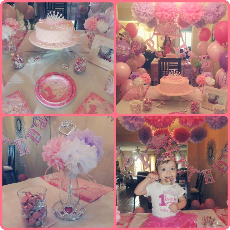 My baby girl 39 s first birthday princess party first for Baby girl first birthday party decoration ideas