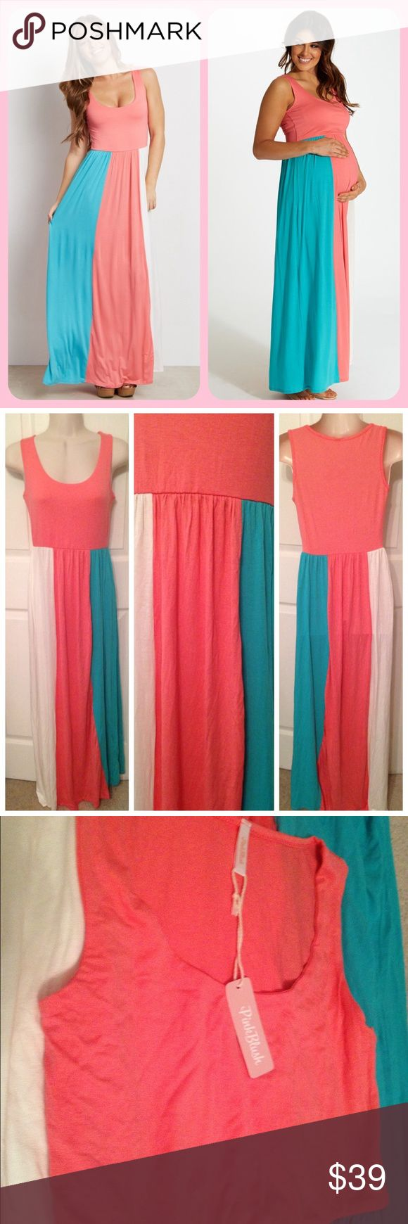 NWT PinkBlush Neapolitan style Maxi - super soft! Brand new w/ tag maxi dress by Pink Blush.  This is marketed towards BOTH pregnant and non-pregnant ladies - the super soft & stretchy  Viscose/Spandex material can work great as a maternity dress, or simply as a normal dress for those who are not preggo ☺️.  Colorblock style coral pink, cream white, + aqua mint green.  Really lovely! Comfy stretch so it could work for a Small to Medium.  Could be used for a baby shower boy or girl gender…