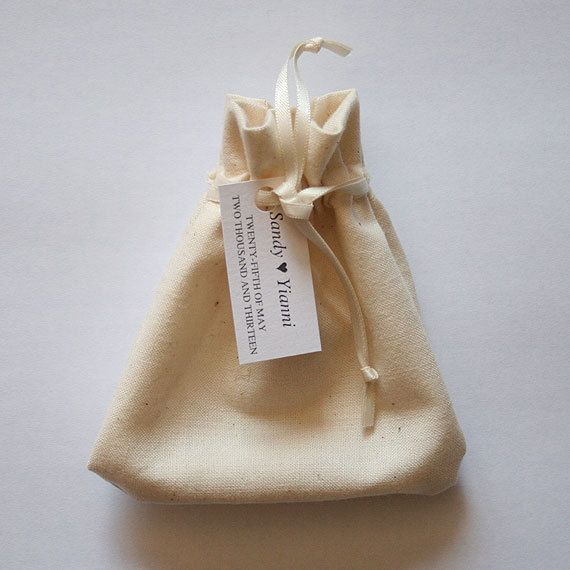 Wedding Favor Bag  with personalised tag by MascandFemme on Etsy, $2.00