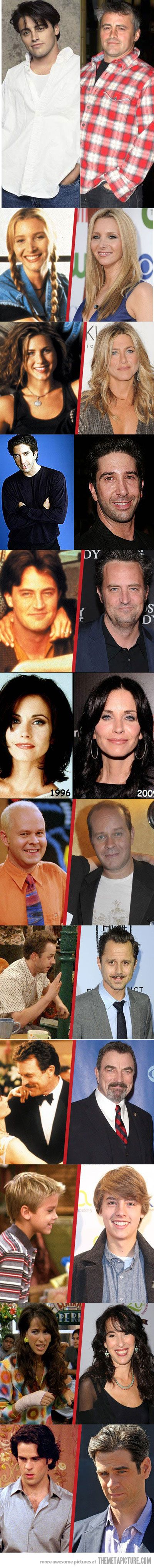 The cast of Friends, then and now