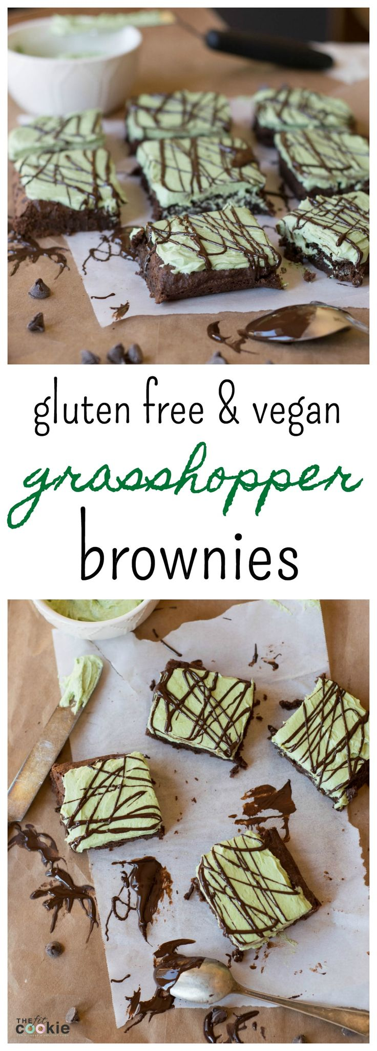 Gluten Free Grasshopper Brownies (Vegan): Dense and chewy gluten-free mint brownies covered with naturally colored mint frosting - these are AMAZING!! - @TheFitCookie