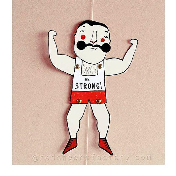 DIY Muscle Man Paper Doll DIY postcard paper by RedCheeksFactory