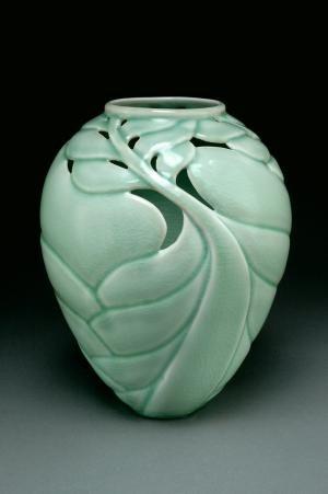 Linda Heisserman carved vase celadon leaves pottery ceramics clay, interesting ideas for negative space.