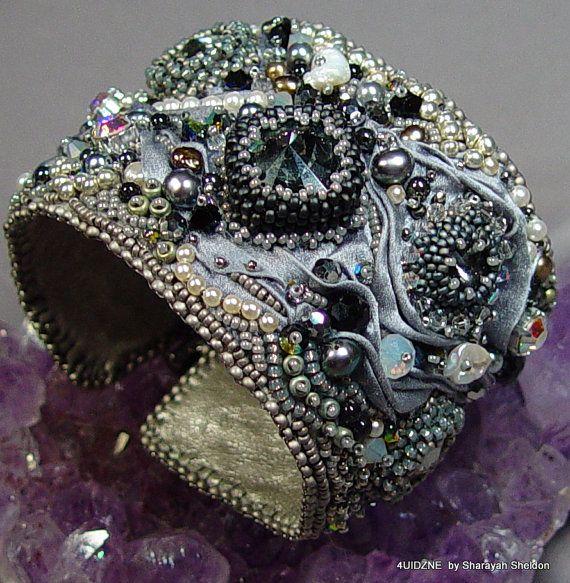 STAR STRUCK Shibori Bead Embroidery Cuff/Bracelet by 4uidzne, $285.00