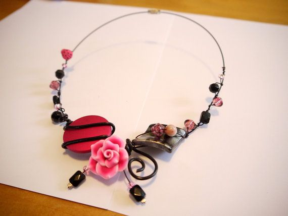 Pink handmade necklace by CreationsBella on Etsy, $25.00