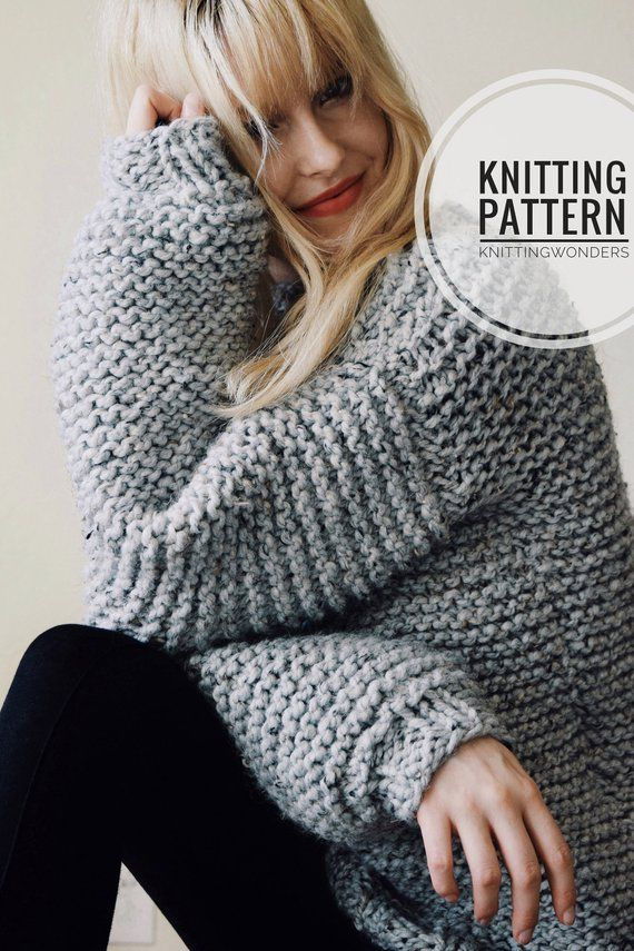 PATRÓN DE TEJIDO ⨯ Patrón de suéter de punto grueso, Patrón de tejido de suéter voluminoso Pattern Patrón de tejido de punto fácil, Patrón de tejido de suéter para principiantes