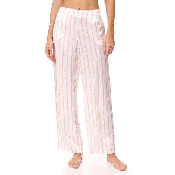 ASCENO Pyjama Bottoms ($200) ❤ liked on Polyvore featuring intimates, sleepwear, pajamas, blush stripe, striped pajamas, striped pyjamas and striped pjs