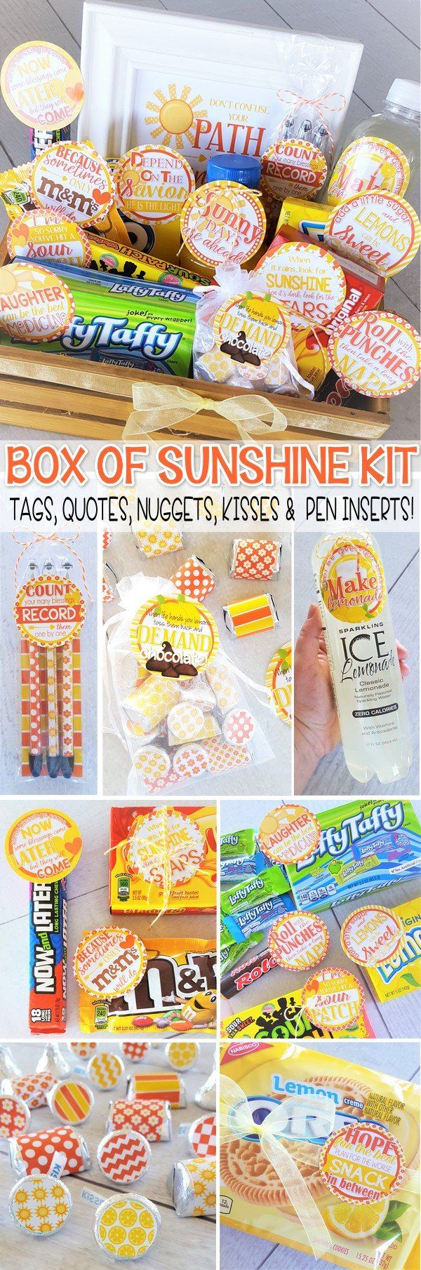 Box of Sunshine Printables! Basket of sunshine, care package - great gift of encouragement! Gift tags, kisses, nuggets and more included - so cute!! #mycomputerismycanvas