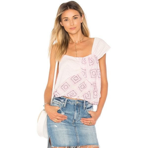 Free People Call On Me Print Top (€34) ❤ liked on Polyvore featuring tops, blouses, rayon blouse, free people blouse, rayon tops, frill top and free people tops