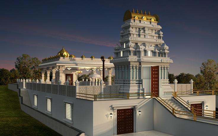 Balaji Temple Dusk view at ISKCON Pune, NVCC
