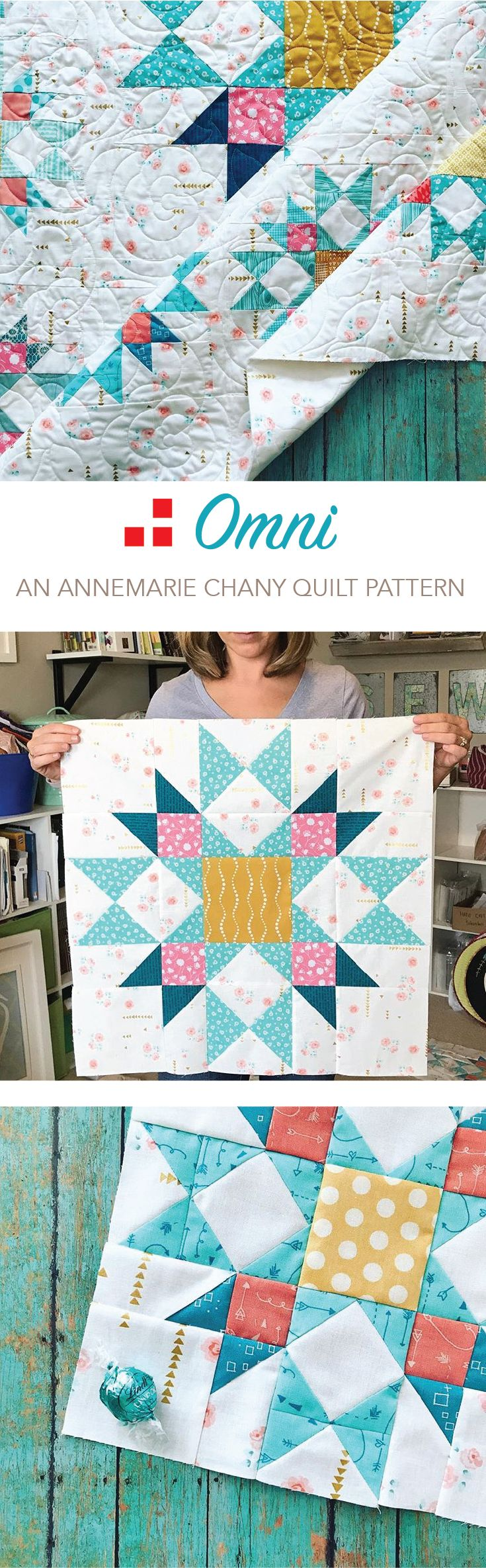 """Omni Quilt Pattern by AnneMarie Chany. An intermediate pattern. The Omni quilt is a dazzling sprinkle of stars in the evening sky. Use a mixture of piecing techniques to learn and create the beautiful star blocks. All focus falls on the Center Star Medallion. Finished Size: 61"""" x 61"""""""