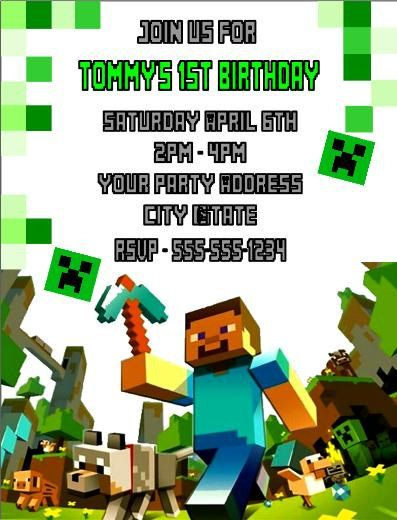 18 best Nathanu0027s 7th Birthday Party images on Pinterest - mine craft invitation template