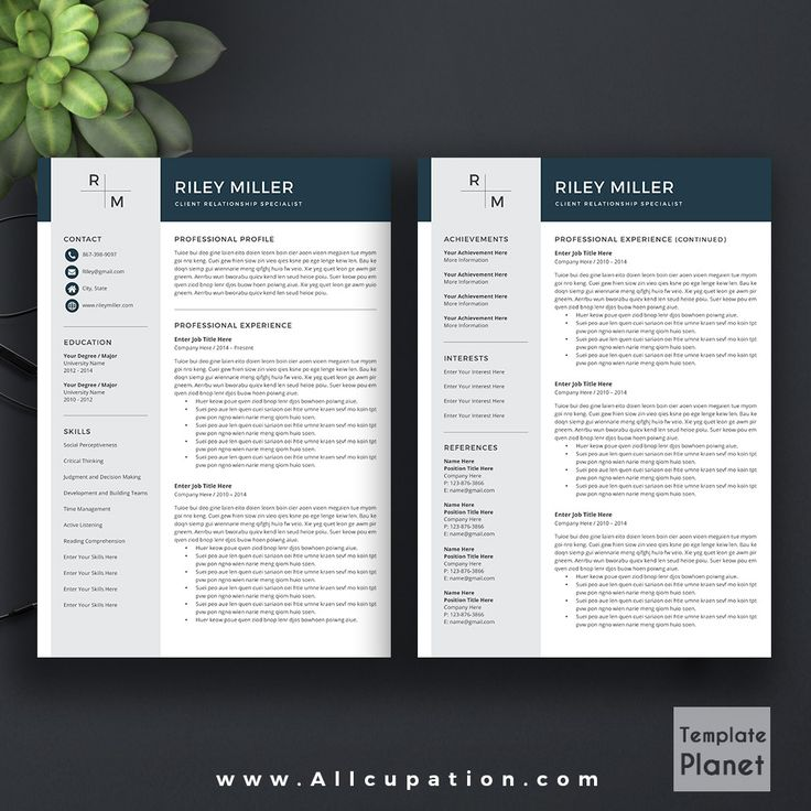 @allcupation Modern Resume Template, CV Template, Cover Letter, References, MS Office Word, Mac, PC, Instant Download, RILEY | Allcupation.com | We Help You Create Powerful Resume and Win The Interview | #resume #template #resumetemplate