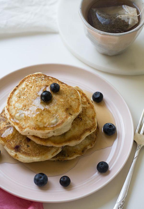 Vegan Almond Blueberry Pancakes