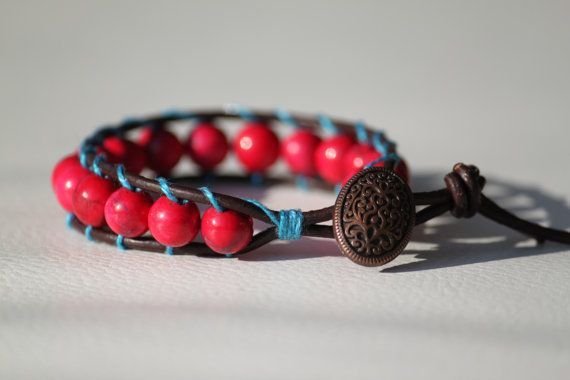 Check my newest bracelet im my shop! Ruby mineral beaded leather bracelet with a by DeaJewelleryStore