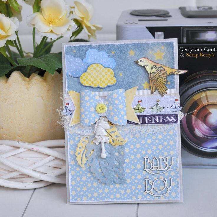 ScrapBerry's: Baby Boy Card by Gerry van Gent with Sweetheart collection and polymer embellishment from ScrapBerry's