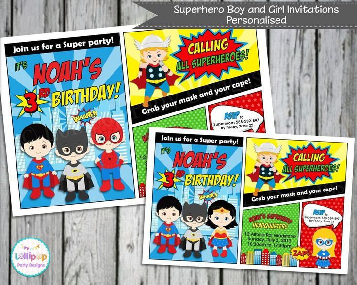 SUPERHERO PERSONALISED INVITATIONS CARDS BIRTHDAY INVITE BATMAN SPIDERMAN Comic  #custominvitations #BIRTHDAY