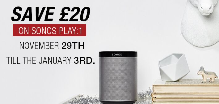 Save £20 on sonos play:1 November 29th till the 3rd january. Shop Now:https://goo.gl/NBGtsD  #SonosDeals   #SonosOffer   #Deals   #discount   #AtlanticElectrics   #shopping   #onlineshopping