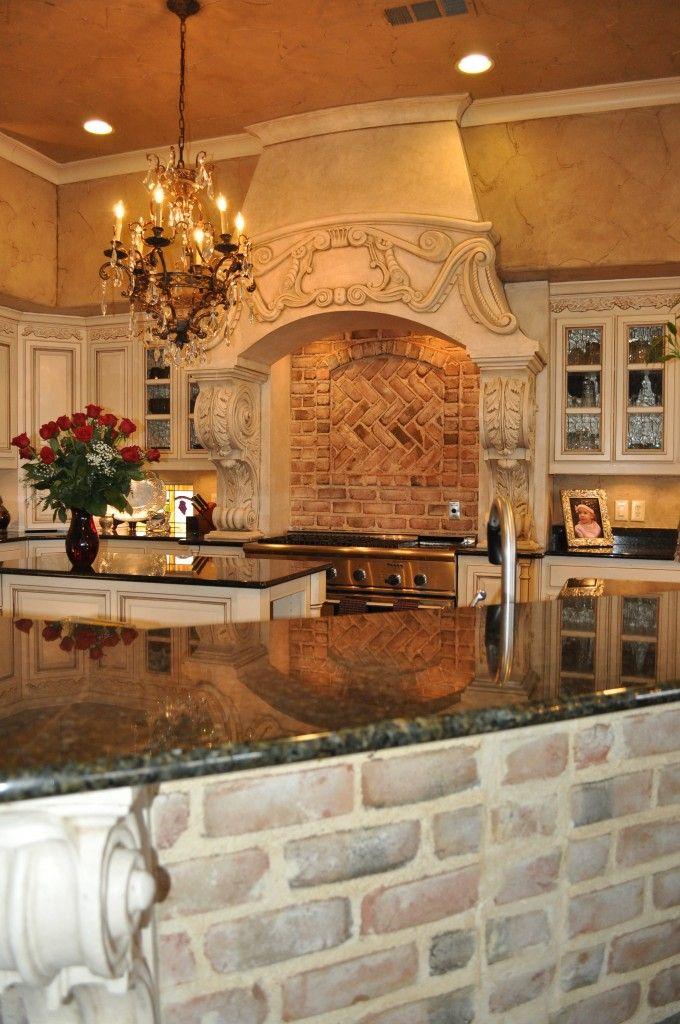 beautiful kitchen and use of brick.