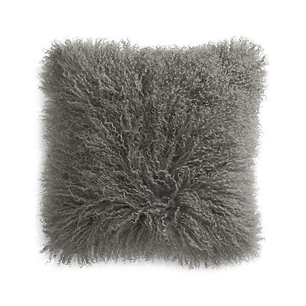 """Pelliccia Silver Grey 16"""" Mongolian Lamb Fur Pillow"""