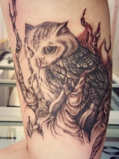 13 best owl in tree tattoo images on pinterest owl owls and rh pinterest com Feminine Owl Tattoos Owl Tattoo Meaning