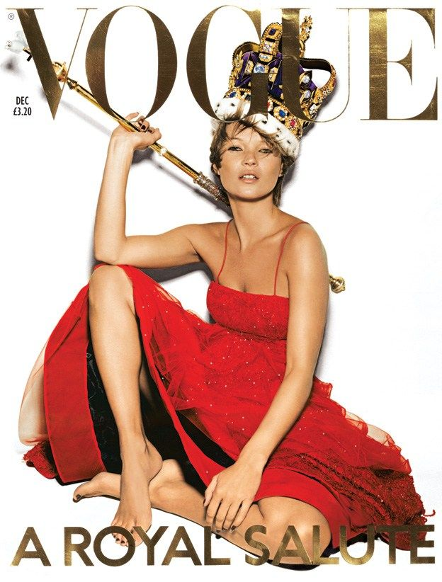 December 2001 Kate Moss wears tulle dress with Swarovski crystals and sequins, £13,000, at Giorgio Armani. Replica Coronation crown and sceptre, at STV International. Al make-up by Estee Lauder. Hair: Sam McKnight. Make-up: Val Garland. Nails: Marian Newman. Digital Artwork: Allan Finamore and George Lewes at Metro imaging, London. Fashion editor: Kate Phelan. Photography: Nick Knight.