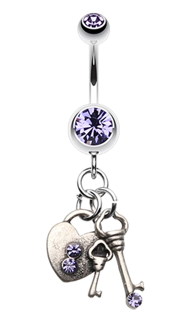 Love Lock Down Belly Button Ring - 14 GA (1.6mm) - Blue - Sold Individually