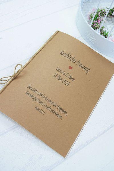 """Hochzeitskarten - Kirchenheft """"Herz"""" vintage - ein Designerstück von Formatreich-Hochzeitskarten bei DaWanda"""