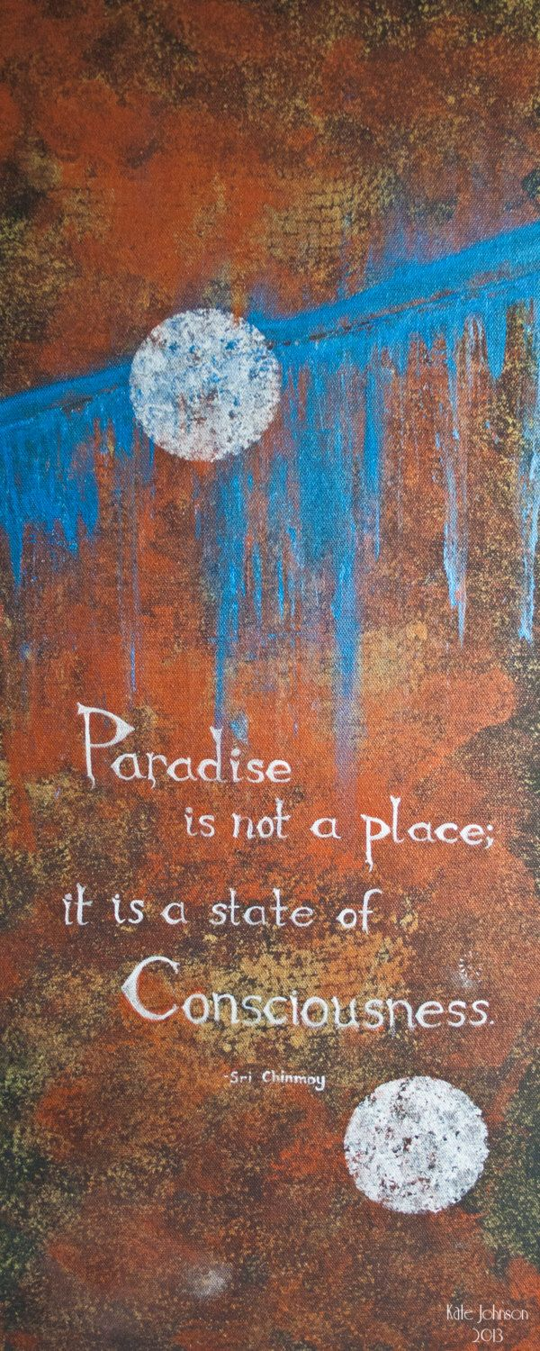 Spiritual Art - Sri Chinmoy quote Acrylic Painting. $300.00, via Etsy.