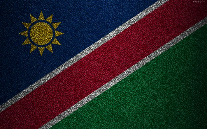 Download wallpapers Flag of Namibia, 4K, leather texture, Africa, Namibian flag, flags of African countries, Namibia