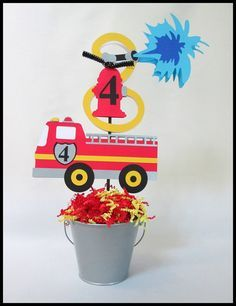 Fire Engine/ Fire Truck Birthday Theme Centerpieces by LaLaLissyLou