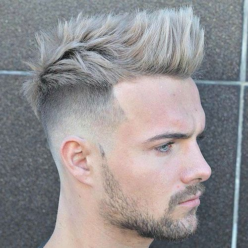 High Skin Fade with Quiff and Brushed Up