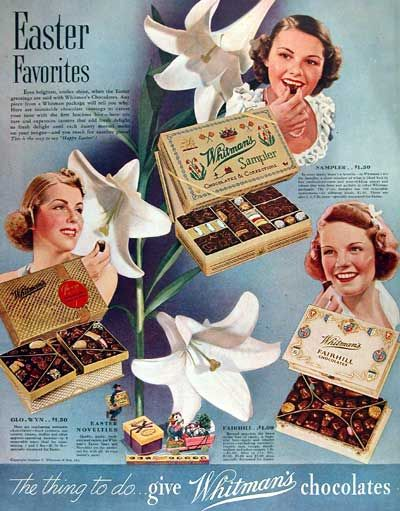 1938 Whitman Chocolates original vintage Easter time advertisement. Photographed in vivid color. With original list prices.