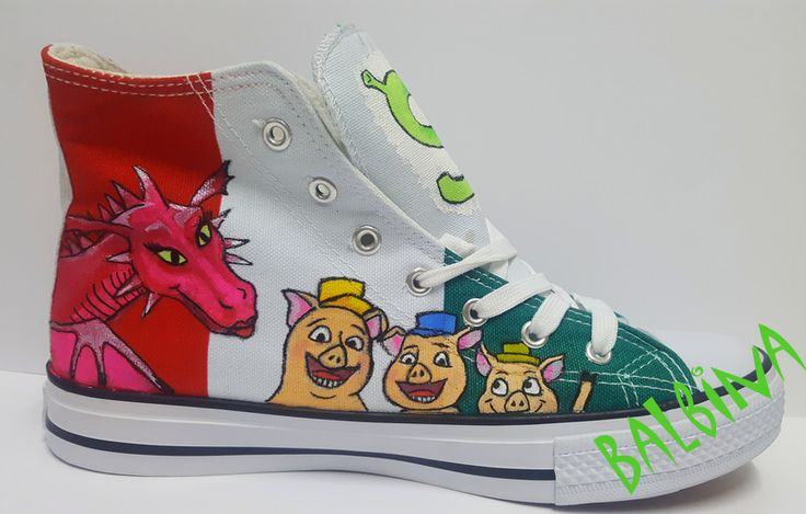 dragon and 3 pigs from Shrek  - hand painted trainers https://web.facebook.com/Balbina-R%C4%99cznie-malowane-buty-i-ubrania-hand-painted-shoes-and-clothes-849793331796229/?ref=aymt_homepage_panel
