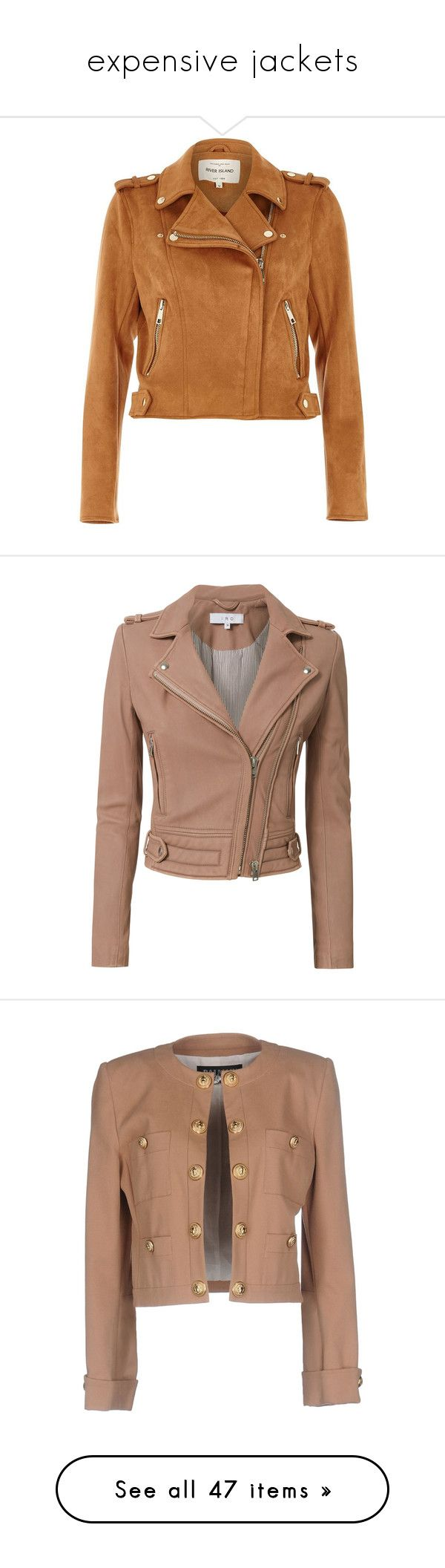 """""""expensive jackets"""" by mrstomlinson974 on Polyvore featuring outerwear, jackets, river island, tops, coats / jackets, tan, women, moto biker jacket, tan biker jacket and biker jacket"""