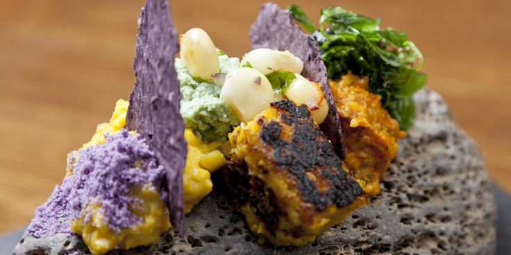 Textures of corn | this looks and sounds incredible - corn prepared as parfaits with peanut-parsley pesto, Chalaquita, purple corn crumbs and crisps