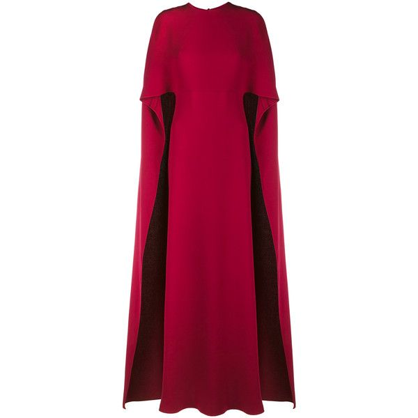 Valentino Crepe Cape Gown found on Polyvore featuring dresses, gowns, long dress, deep red, purple gown, long dresses, long formal evening dresses, formal dresses and red formal dresses