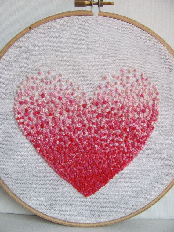 Embroidery French knot pink heart hoop art 4 inch by bearatam