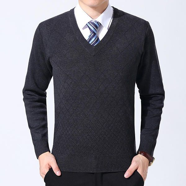 Autumn Winter Men's Casual V-neck Warm Knit Pullovers Fashion Long Sleeve Sweater Pullovers at Banggood