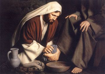 """Jesus Washes the Disciples' Feet. """"For even the Son of Man did not come to be served, but to serve, and to give his life as a ransom for many."""" Mark 10:45"""