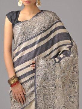 Beige Tussar Silk Saree