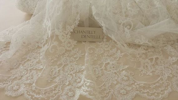 Lace fabric Ivory Bead lace bridal Fabric by ChantillyDentelle