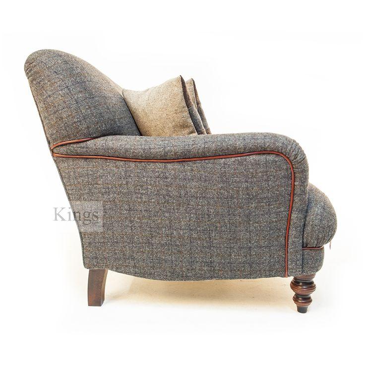 Tetrad harris tweed braemar p arm sofa chianti leather for Leather and tweed sofa