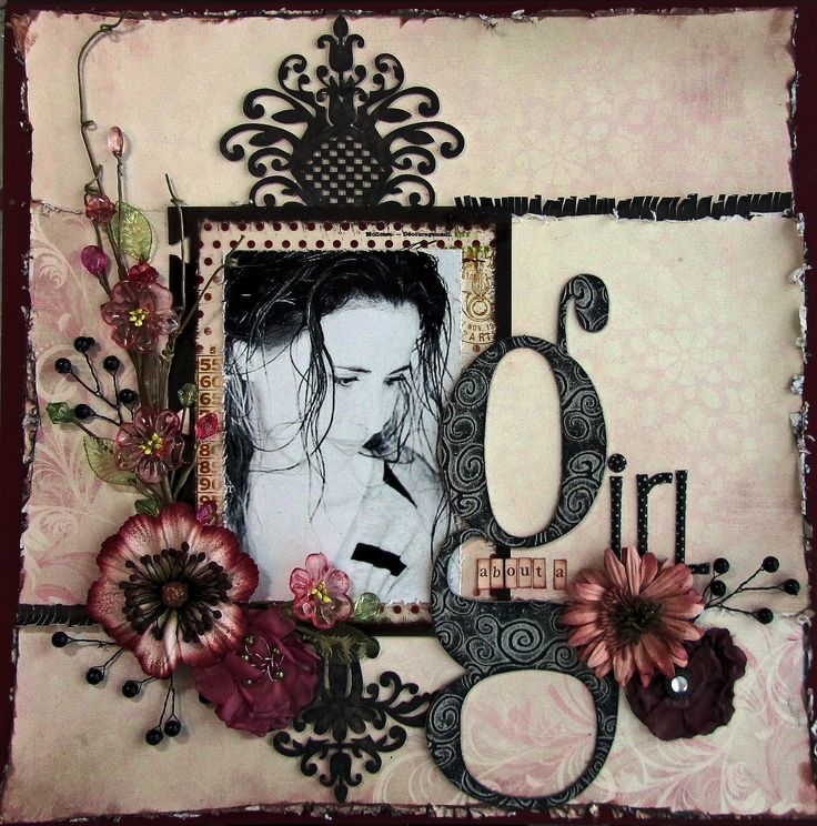 about a girl - Isn't this an adorable title for this #scrapbook #page #layout?  It is such a feminine page!!! Come scrapbook with us at the Oklahoma scrapbook retreat.  http://scrapnparadise.webs.com