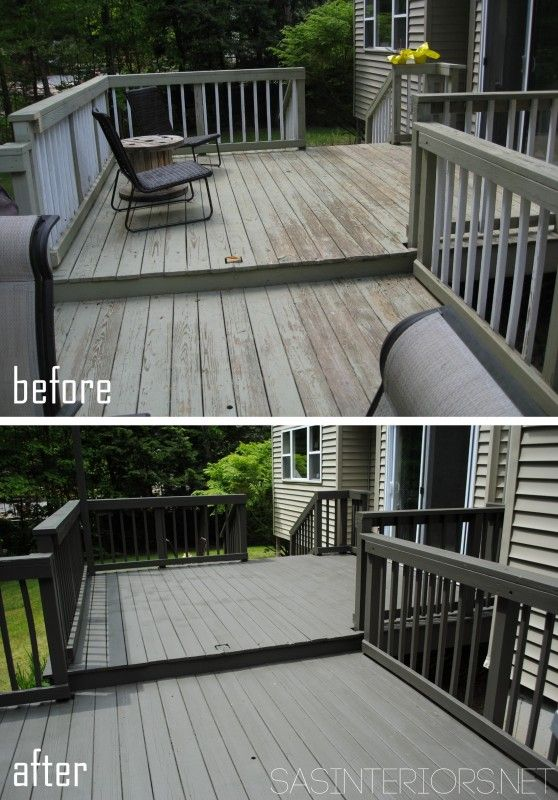 How To Stain A Wood Deck Before And After Wood Deck