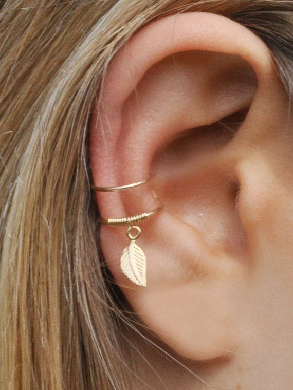DOUBLE WRAP CUFF, Leaf Ear Cuff, Ear Cuff, Fake Piercing, No Piercing, Double…