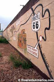 Route 66 mural in Holbrook Arizona, near the wigwam motel