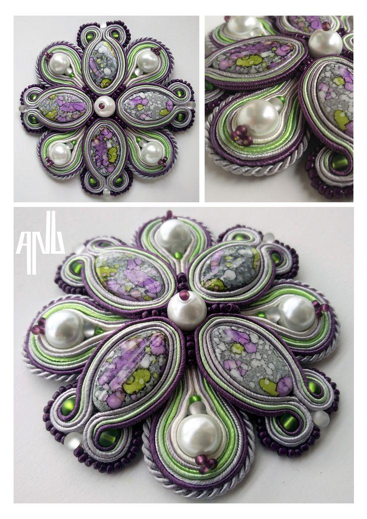 Handmade ANU Jewelry Soutache Brooche Gray Green Purple