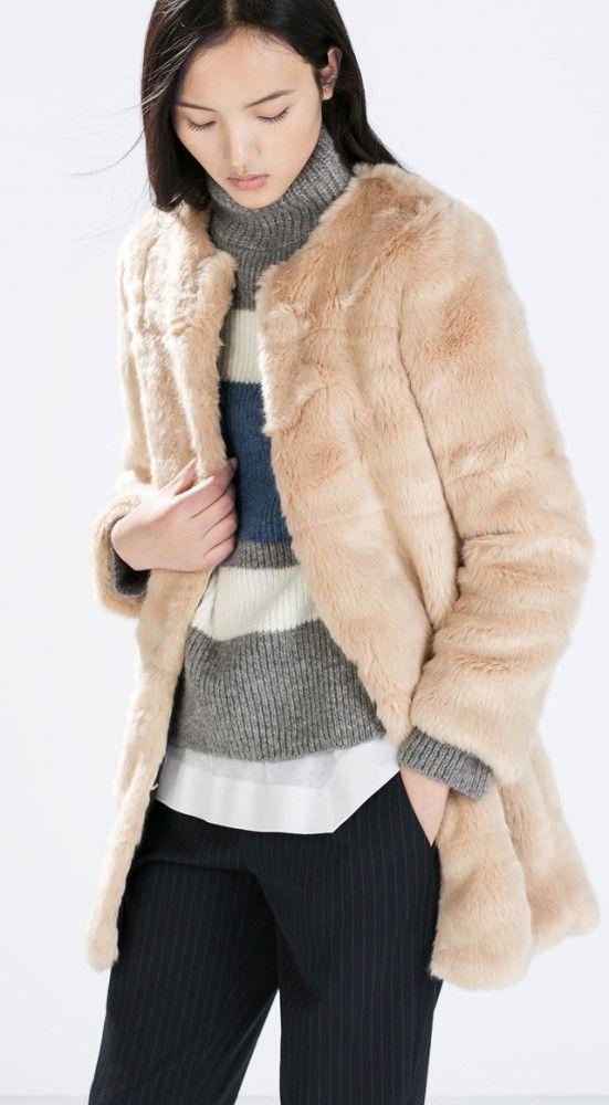 Manteau fausse fourrure nude, Zara