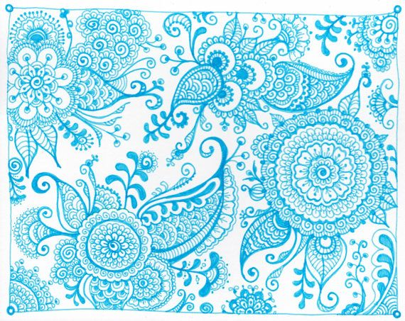 Pen and Ink Mehndi Inspired Drawings by ThingsJaniceMakes on Etsy, $40.00